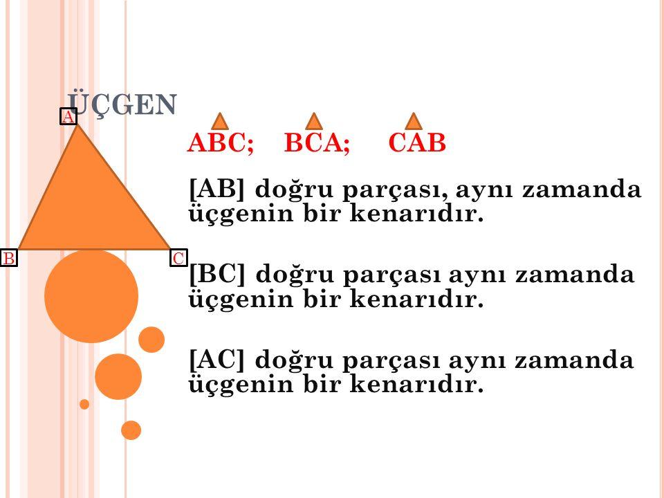 ÜÇGEN A. ABC; BCA; CAB. [AB] doğru parçası, aynı zamanda üçgenin bir kenarıdır. [BC] doğru parçası aynı zamanda üçgenin bir kenarıdır.